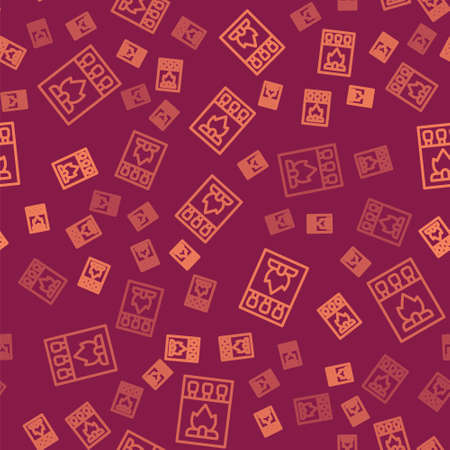 Brown line Open matchbox and matches icon isolated seamless pattern on red background. Vector 版權商用圖片 - 156828730