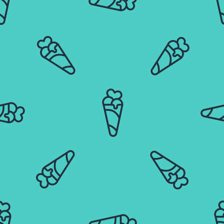 Black line Ice cream in waffle cone icon isolated seamless pattern on green background. Sweet symbol. Vector