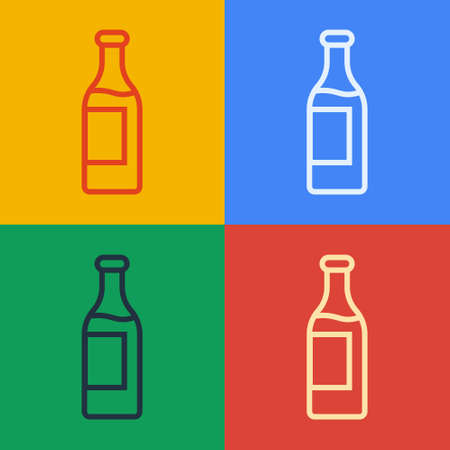 Pop art line Wine bottle icon isolated on color background. Vector