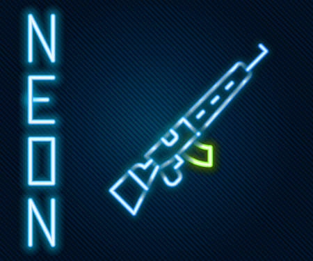 Glowing neon line Sniper rifle with scope icon isolated on black background. Colorful outline concept. Vector