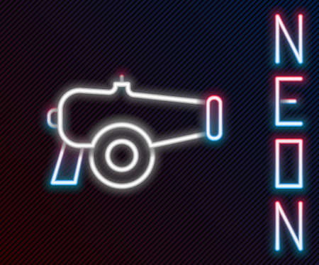 Glowing neon line Cannon icon isolated on black background. Colorful outline concept. Vector