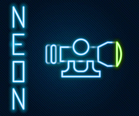 Glowing neon line Sniper optical sight icon isolated on black background. Sniper scope crosshairs. Colorful outline concept. Vector