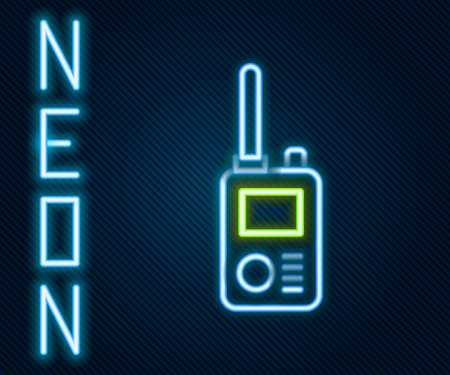 Glowing neon line Walkie talkie icon isolated on black background. Portable radio transmitter icon. Radio transceiver sign. Colorful outline concept. Vector