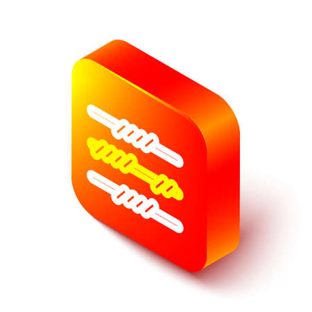 Isometric line Barbed wire icon isolated on white background. Orange square button. Vector