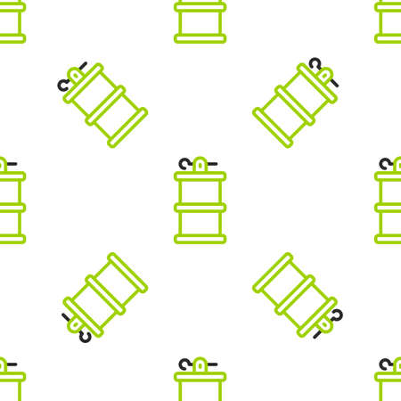 Line Hand smoke grenade icon isolated seamless pattern on white background. Bomb explosion. Vector
