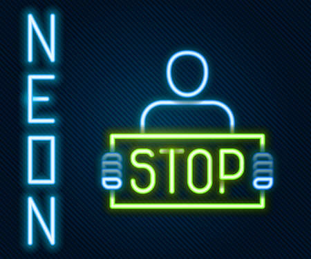 Glowing neon line Stop war icon isolated on black background. Antiwar protest. World peace concept. Colorful outline concept. Vector