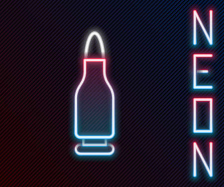 Glowing neon line Bullet icon isolated on black background. Colorful outline concept. Vector Vettoriali