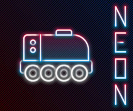Glowing neon line Mars rover icon isolated on black background. Space rover. Moonwalker sign. Apparatus for studying planets surface. Colorful outline concept. Vector