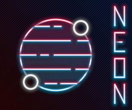 Glowing neon line Planet icon isolated on black background. Colorful outline concept. Vector