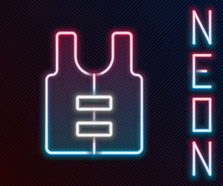 Glowing neon line Life jacket icon isolated on black background. Life vest icon. Extreme sport. Sport equipment. Colorful outline concept. Vector Vettoriali