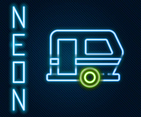 Glowing neon line Rv Camping trailer icon isolated on black background. Travel mobile home, caravan, home camper for travel. Colorful outline concept. Vector