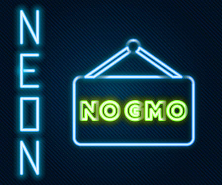 Glowing neon line No GMO icon isolated on black background. Genetically modified organism acronym. Dna food modification. Colorful outline concept. Vector