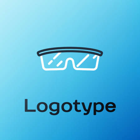 Line Laboratory glasses icon isolated on blue background. Colorful outline concept. Vector