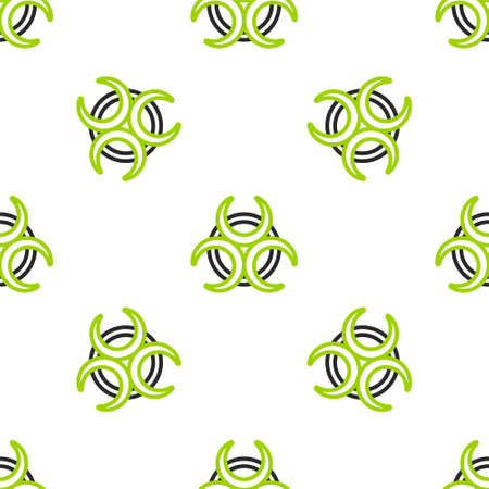 Line Biohazard symbol icon isolated seamless pattern on white background. Vector