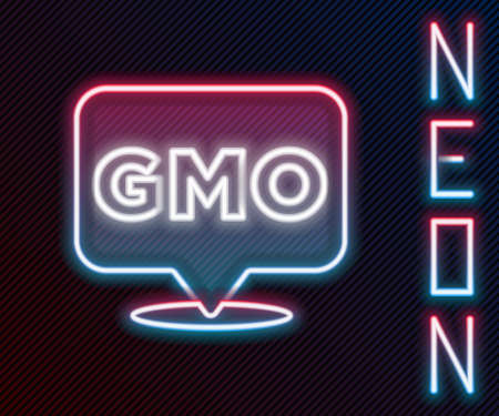 Glowing neon line GMO icon isolated on black background. Genetically modified organism acronym. Dna food modification. Colorful outline concept. Vector