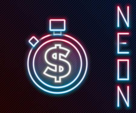 Glowing neon line Time is money icon isolated on black background. Money is time. Effective time management. Convert time to money. Stopwatch sign. Colorful outline concept. Vector