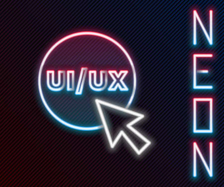 Glowing neon line UI or UX design icon isolated on black background. Colorful outline concept. Vector Vettoriali