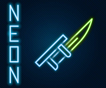 Glowing neon line Bayonet on rifle icon isolated on black background. Colorful outline concept. Vector