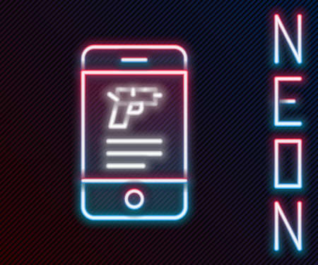 Glowing neon line Hunting shop with rifle and gun weapon in mobile app icon isolated on black background. Supermarket or store with weapon equipment. Colorful outline concept. Vector