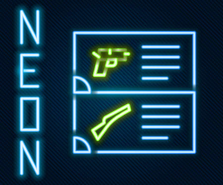 Glowing neon line Weapon catalog icon isolated on black background. Police or military handgun. Small firearm. Colorful outline concept. Vector