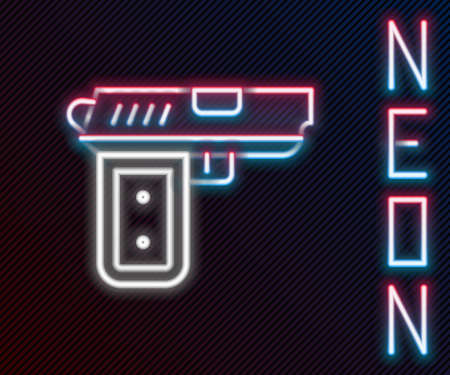 Glowing neon line Pistol or gun icon isolated on black background. Police or military handgun. Small firearm. Colorful outline concept. Vector