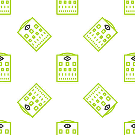 Line Eye test chart icon isolated seamless pattern on white background. Poster for vision testing in ophthalmic study. Snellen chart. Vector