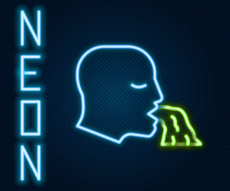 Glowing neon line Vomiting man icon isolated on black background. Symptom of disease, problem with health. Nausea, food poisoning, alcohol poisoning concept. Colorful outline concept. Vector Vettoriali