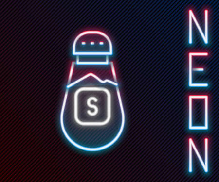 Glowing neon line Salt icon isolated on black background. Cooking spices. Colorful outline concept. Vector Vettoriali