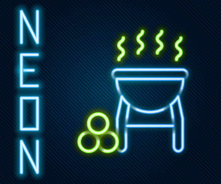 Glowing neon line Barbecue grill icon isolated on black background. BBQ grill party. Colorful outline concept. Vector Vettoriali