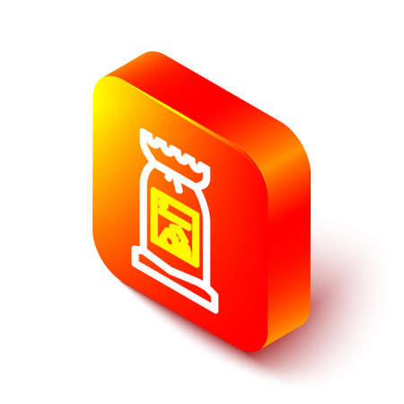 Isometric line Barbecue coal bag icon isolated on white background. Orange square button. Vector