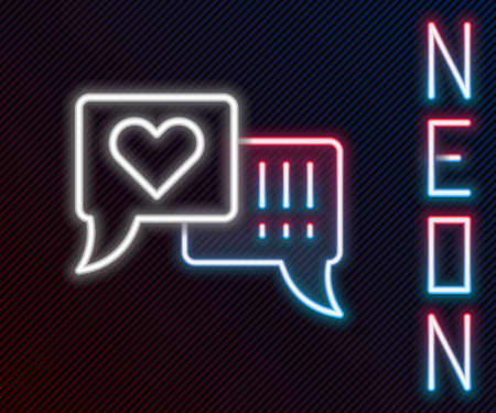 Glowing neon line Heart in speech bubble icon isolated on black background. Colorful outline concept. Vector