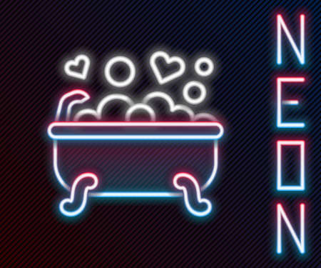 Glowing neon line Romantic in bathroom icon isolated on black background. Concept romantic date. Romantic Bathroom with heart favorite foam. Colorful outline concept. Vector