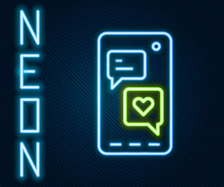 Glowing neon line Smartphone with heart emoji speech bubble get message on screen icon isolated on black background. Valentines day. Colorful outline concept. Vector Vettoriali