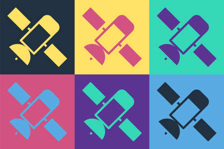 Pop art Satellite icon isolated on color background. Vector
