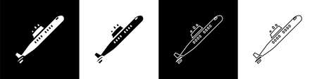 Set Submarine icon isolated on black and white background. Military ship. Vector