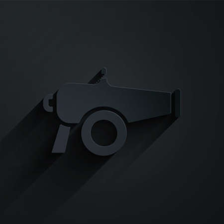 Paper cut Cannon icon isolated on black background. Paper art style. Vector 向量圖像
