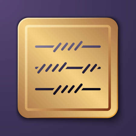 Purple Barbed wire icon isolated on purple background. Gold square button. Vector