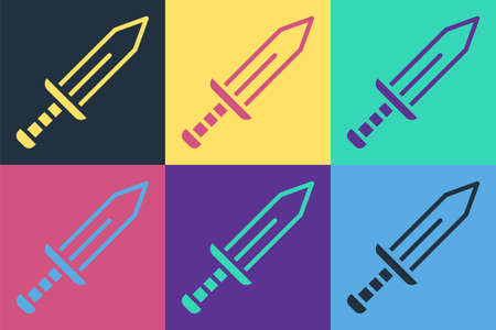 Pop art Sword icon isolated on color background. Medieval weapon. Vector
