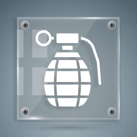 White Hand grenade icon isolated on grey background. Bomb explosion. Square glass panels. Vector