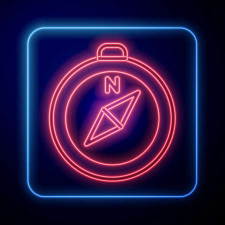 Glowing neon Compass icon isolated on blue background. Windrose navigation symbol. Wind rose sign. Vector