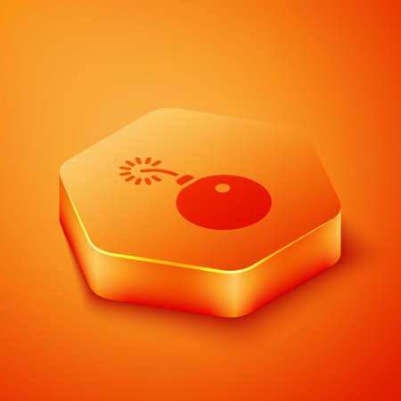 Isometric Bomb ready to explode icon isolated on orange background. Orange hexagon button. Vector