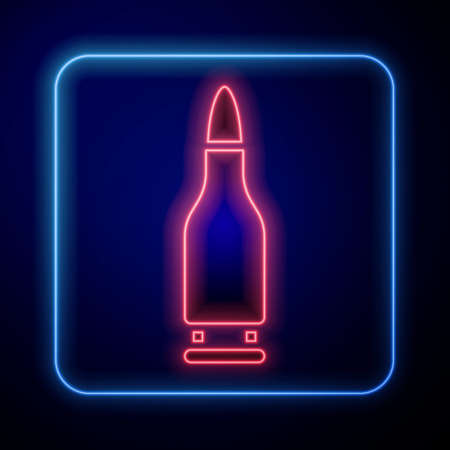Glowing neon Bullet icon isolated on blue background. Vector