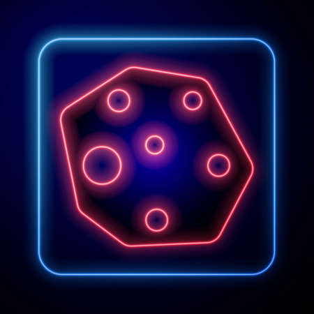 Glowing neon Asteroid icon isolated on blue background. Vector