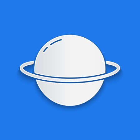 Paper cut Planet Saturn with planetary ring system icon isolated on blue background. Paper art style. Vector 일러스트