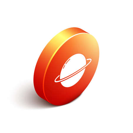Isometric Planet Saturn with planetary ring system icon isolated on white background. Orange circle button. Vector