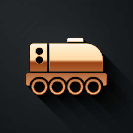 Gold Mars rover icon isolated on black background. Space rover. Moonwalker sign. Apparatus for studying planets surface. Long shadow style. Vector Ilustração