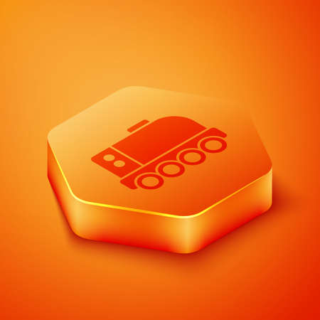 Isometric Mars rover icon isolated on orange background. Space rover. Moonwalker sign. Apparatus for studying planets surface. Orange hexagon button. Vector