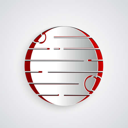 Paper cut Planet icon isolated on grey background. Paper art style. Vector
