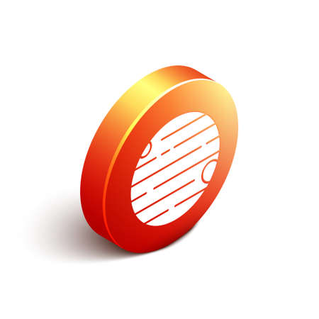 Isometric Planet icon isolated on white background. Orange circle button. Vector