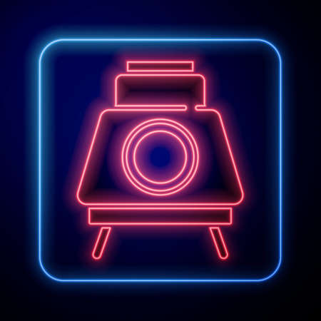 Glowing neon Mars rover icon isolated on blue background. Space rover. Moonwalker sign. Apparatus for studying planets surface. Vector Vettoriali